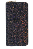 Black Glitter Zip Wallet