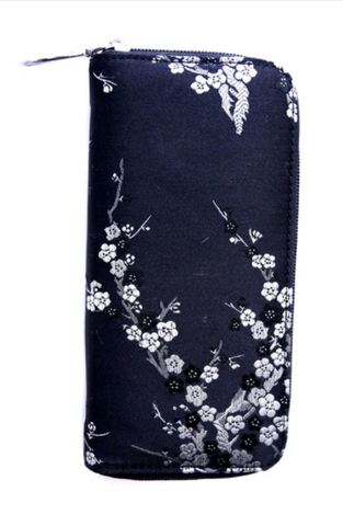 Black Satin Floral Women's Zipper Wallet with Silver Accents