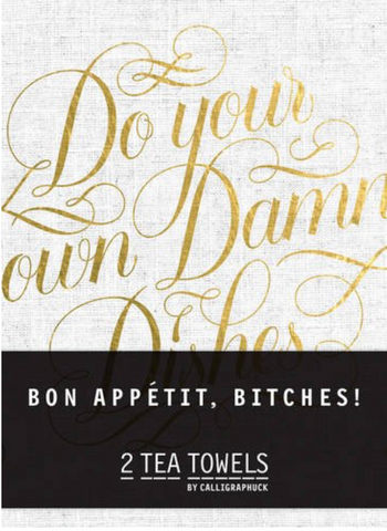 Bon Appétit, B*tches! Tea Towel Set of 2 in Black, White and Metallic Gold
