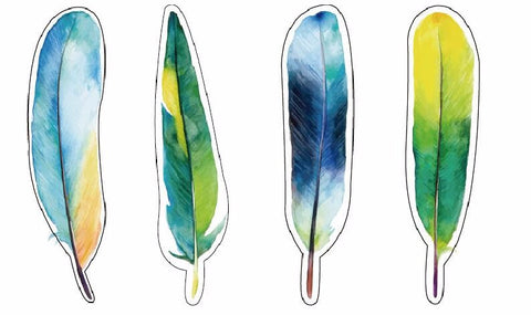 30 pack of watercolor style feather bookmarks