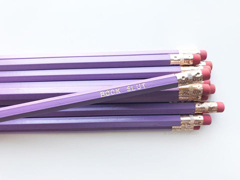 Book Slut Pencil Set in Lilac | Set of 5 Funny Sweary Profanity Pencils