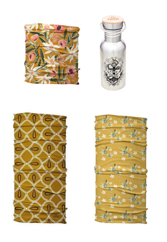 Golden Queen Yoga Headband Set | 3 Soft Stretch Headbands + Free Let Love Be Your Anchor Water Bottle