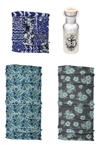 Beautiful Blues Yoga Headband Set | 3 Soft Stretch Headbands + Free Let Love Be Your Anchor Water Bottle