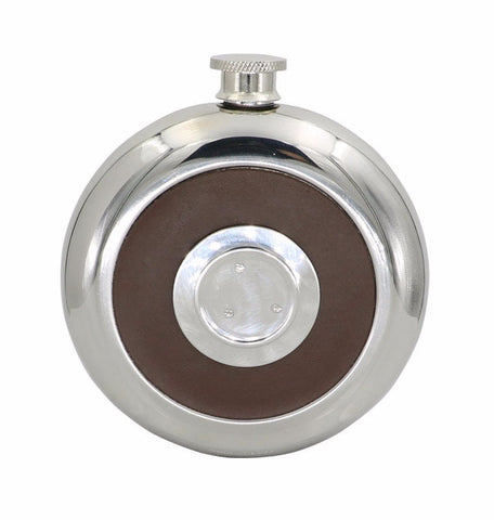 Leather and Steel Round Flask