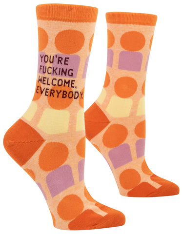 You're Fucking Welcome Everybody Women's Crew Socks Hipster/Nerdy/Geeky/Trendy, Orange Colorful Funny Novelty Socks with Cool Design, Bold/Crazy/Unique Quirky Dress Socks