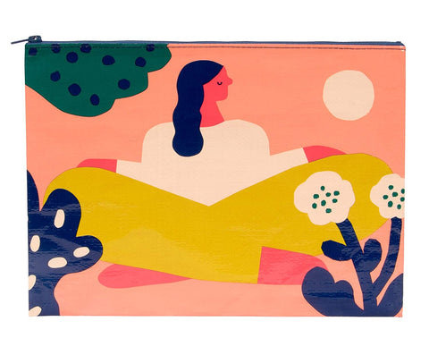 Soak Up The Sun Colorful Recycled Material Cute/Cool/Unique Large/Jumbo Zipper Pouch/Bag/Clutch/Cosmetic Bag