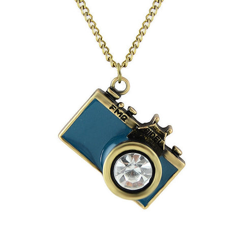 Vintage Camera Necklace in Teal