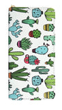 Cartoon Cactus Women's Zip Wallet in Vegan Leather with Gold Accents