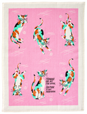 Humans are My Side Bitch Screen-Printed Cats Pink Funny Sweary / Snarky Dish Cloth Towel / Novelty Silly Tea Towels / Cute Hilarious Unique Kitchen Hand Towel