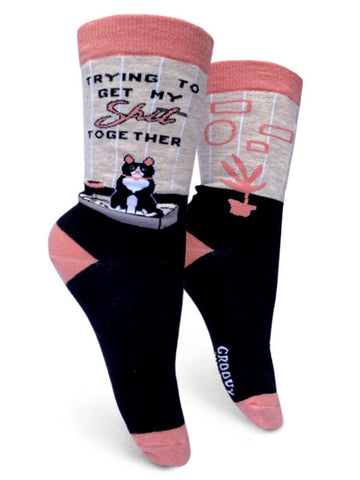 Trying to Get My Shit Together Cat Women's Crew Socks