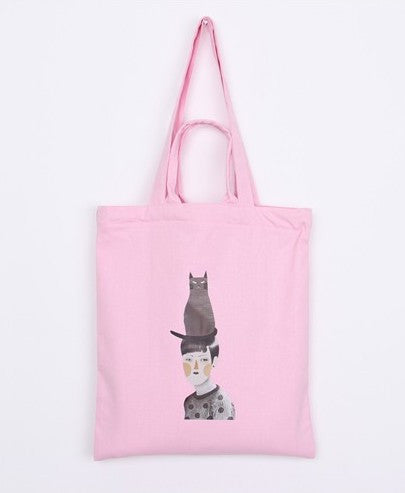 Cat-Head Lady Light Pink Tote with Zip Closure