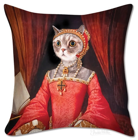 "Renaissance Kitty Funny Square Throw Pillow Cover | 18"" x 18"""
