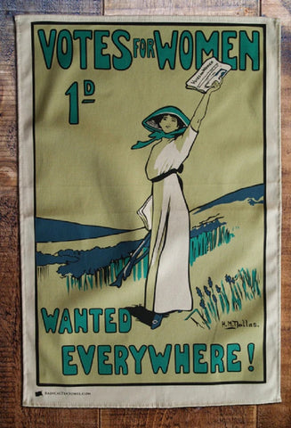 Votes for Women Wanted Everywhere Tea Towel