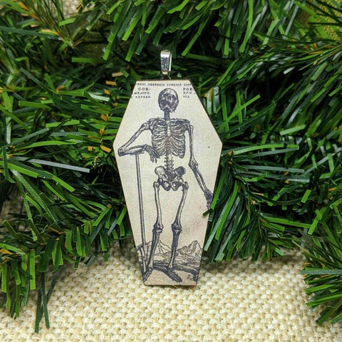 Skeleton Coffin Christmas Tree Gift Tag Ornament