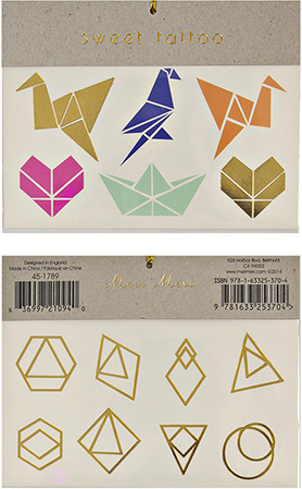 Origami Temporary Tattoos in Orange, Gold, Pink and Blue Geometric Animal Shapes