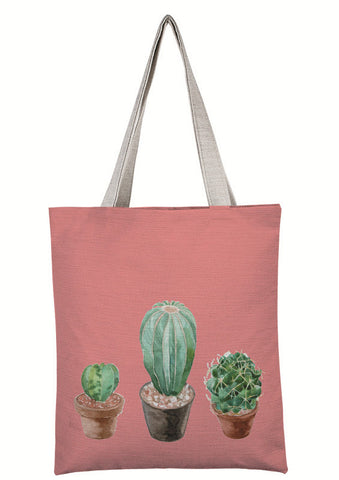 Coral Triple Cactus Canvas Tote Bag