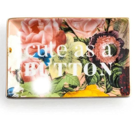 Cute As A Button Porcelain Trinket Tray in Floral