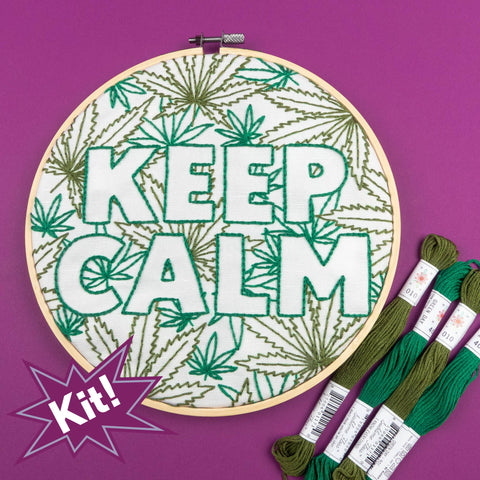 "Keep Calm 8"" Embroidery Kit in Green"