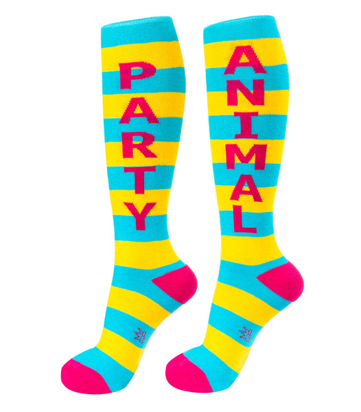 Party Animal Knee High Striped Tube Socks