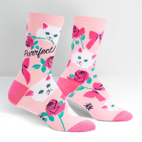 You're Purrfect Cat Women's Crew Socks in Rose Pink