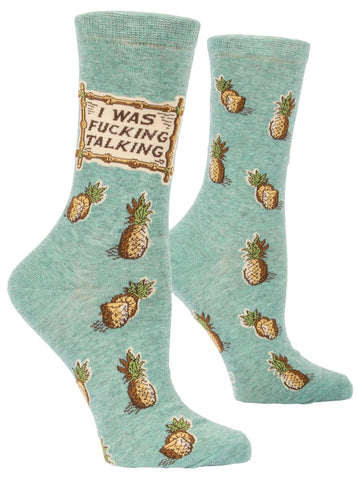 I Was Fucking Talking Pineapples Women's Crew Socks, Hipster/Nerdy/Geeky/Trendy, Funny Novelty Power Socks with Cool Design, Bold/Crazy/Unique Dress Socks