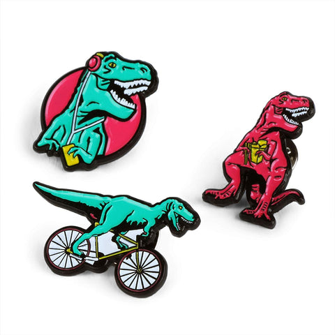 T-Rex Pin Badges in Set of 3