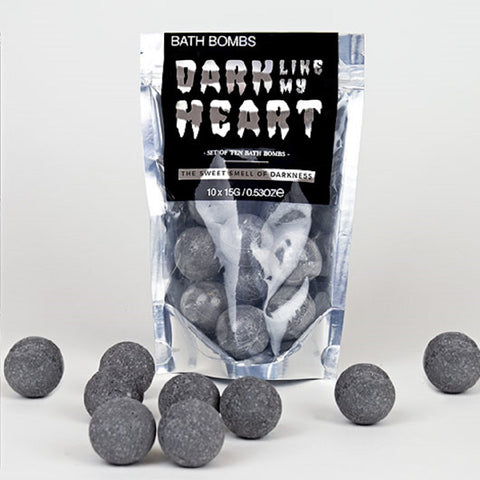 Dark Like My Heart Bath Bombs in Black | Charcoal Goth Bath Bombs | Foil Pack of 10