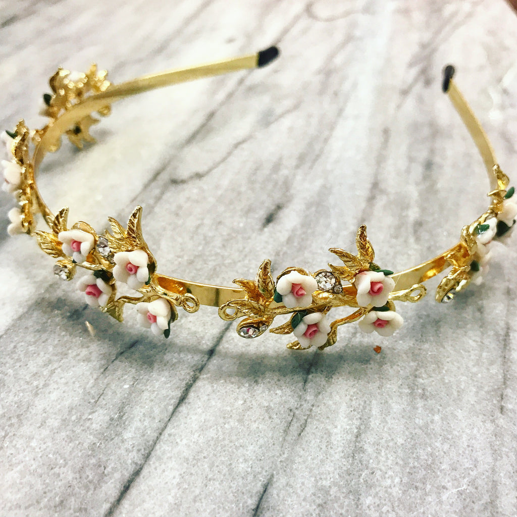 Delicate Spring Queen Business Tiara In Gold With White And Pink