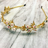 Delicate Spring Queen Business Tiara in Gold with White and Pink Flowers