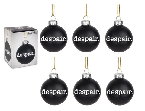 Despair Holiday Glass Ornament in Black | Pack of 6