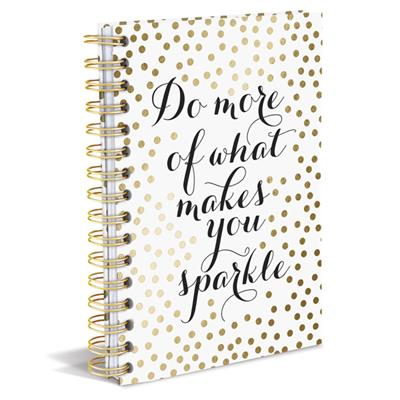 Do More of What Makes You Sparkle Spiral Notebook in White with Gold Polka Dots