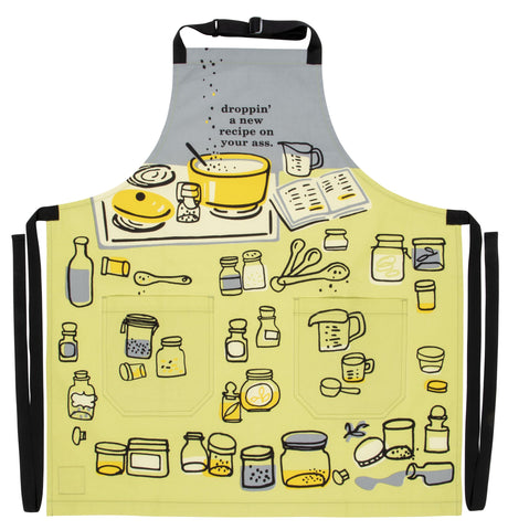Droppin' A New Recipe On Your Ass Apron Retro Sweary Funny / Cute / Profanity Apron with Pockets BBQ /Grill / Cooking Country Novelty Cute Old Fashioned Apron