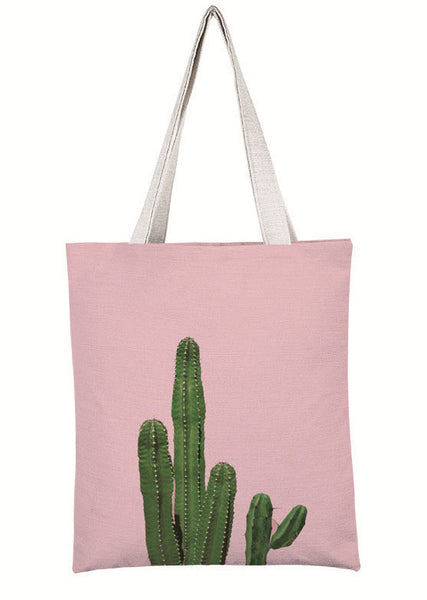 Dusky Pink Cactus Canvas Tote Bag