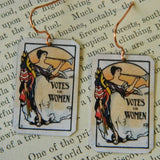 Votes For Women Feminist Earrings with Trumpet Motif - Enameled Copper