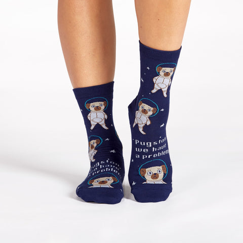 Pugston, We Have a Problem Pug Women's Crew Socks in Blue