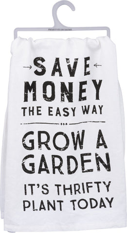 Grow A Garden Dish Towel in White