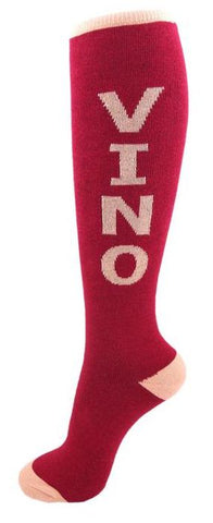 Vino Dress Unisex Knee Socks in Deep Burgundy and Tan