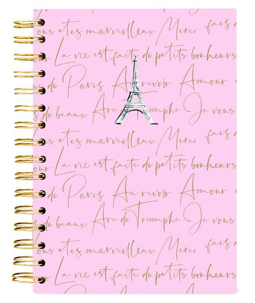 Meet Me In Paris Spiral Hard Bound Journal in Pink with Eiffel Tower Design