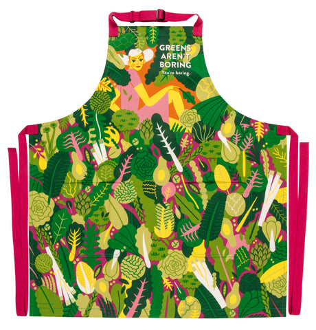 Green Aren't Boring You're Boring Apron with Vegetable Design