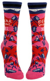 Dear Wine, Yes Women's Crew Novelty Socks with Cool Design, Bold/Crazy/Unique Specialty Dress Socks