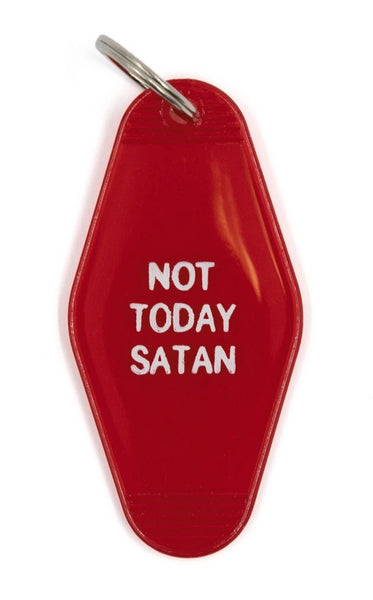 Not Today Satan Red Translucent Motel Style Keychain