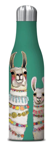 Boho Llamas Duo Insulated Stainless Steel Medium Water Bottle in Teal