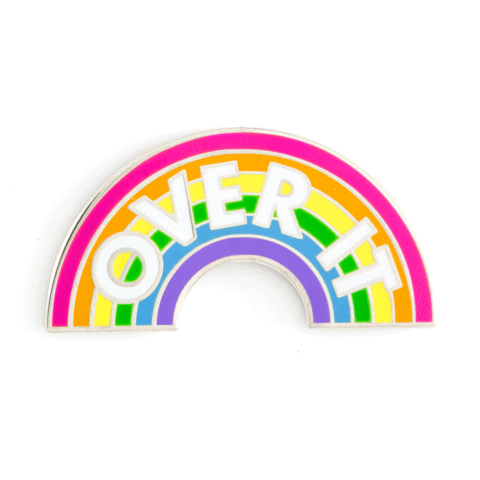 Over It Enamel Pin in Rainbow