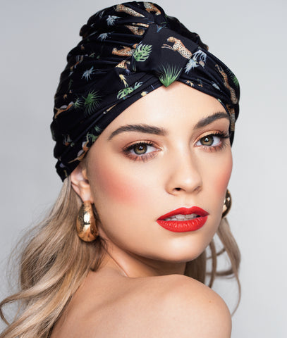 Amelie Shower Cap In Dark Tropics - Bath wrap in dark florals
