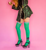 Kitty Power Over The Knee Socks in Emerald Green