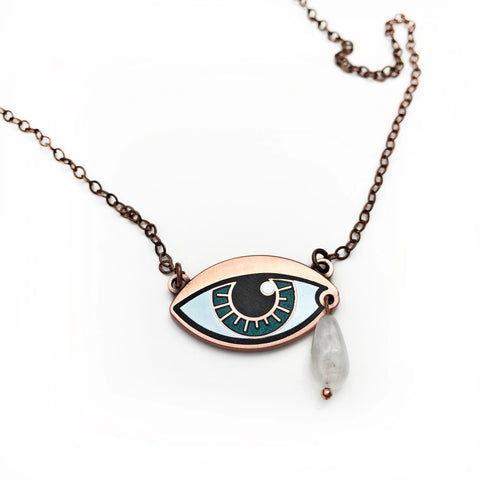 Ersa Eye Necklace With Moonstone Teardrop | Satin Copper Finish