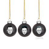 Existentialist Holiday Glass Ornaments Set in Black