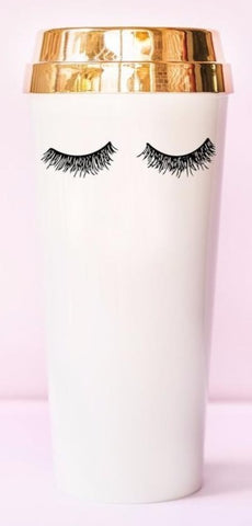 Gorgeous Eyelashes Travel Mug in White with Metallic Gold Lid