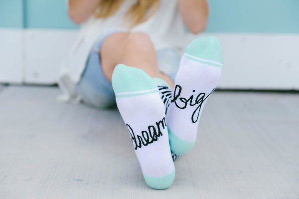 Dream Big Socks | Chevron Design | Extra Padding | Cute Saying on Bottoms