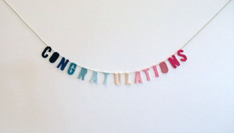 Congratulations Felt Party Banner in Blue to Pink Ombre
